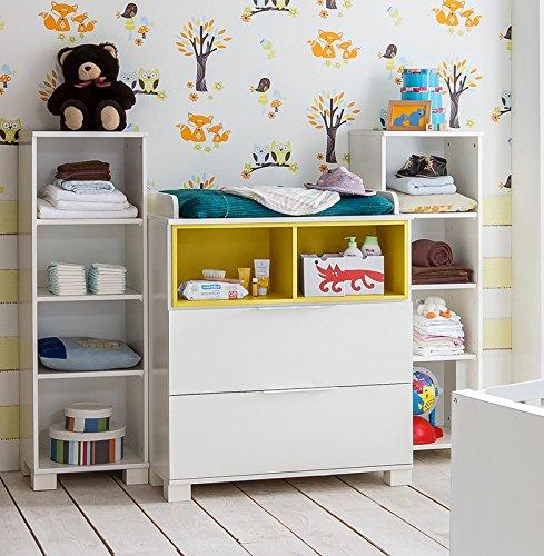 Babyzimmer Wickelkommoden Regal Set weiß gelb Wickeltisch Babytisch Kommode