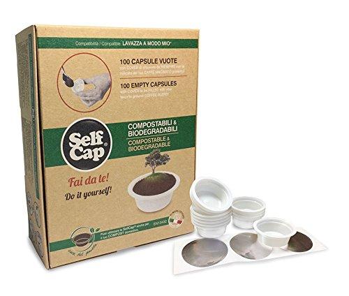 SelfCap Cápsulas de Café COMPOSTABLES Y BIODEGRADABLES para llenar con tu Mezcla preferida de café-té-Hierbas, compatibles con cafeteras LAVAZZA A Modo Mio