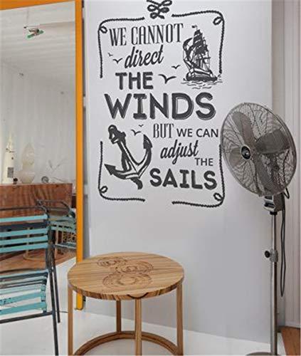 wandaufkleber graffiti Wir können die Winde nicht lenken, aber wir können die Segel mit Schiff und Anker einstellen -