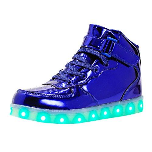 bevoker Leucht Schuhe Kinder High Top LED Turnschuhe Blinkschuhe für Mädchen Jungen Unisex
