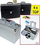 4 x Pilotenkoffer mit Kunstleder + ALUsilber, Businesskoffer mit Rollen + Teleskopgriff,standfest, Business- & Reisekoffer, Leder (Kunstleder), Lederimitat, geräumige Tasche-Reisetasche, Trolley, Notenkoffer, Musikkoffer, für Handgepäck, Koffer für Auto Cabrio Dokumente Bauingineure Elektroingineure Flugreise Laptop Notebook Ordner PC Reisen Tablet Visagistenkoffer tablets 2x DIN A4-Ordner, USA Einkaufstrolley, Trolli