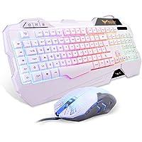 Gaming Keyboard {UK Layout}, HAVIT Rainbow LED Backlit Wired Keyboard and Mouse Combo Set, Black (White)