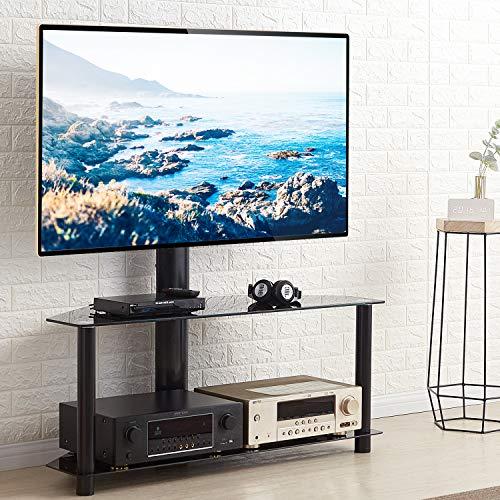 RFIVER Universal TV Ständer Fernsehständer Rack Fernsehtisch Fernsehschrank Eckschrank Glas Schwenkbar Höhenverstellbar für 32 bis 65 Zoll mit Zwei Glasplatten Schwarz TW1005