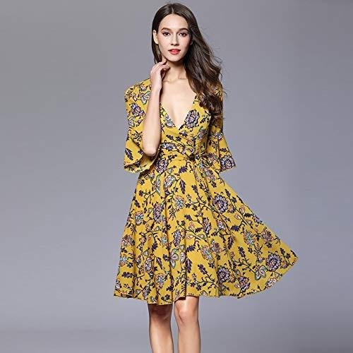 QUNLIANYI Maxikleid Spitze Kleid Blumenmuster Sexy V-Hals Mini-Kleider Frauen Flare Short Sleeve Bow Front Spitze Up L Gelb -
