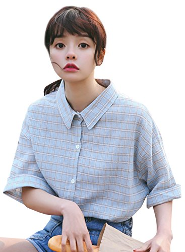 ACHICGIRL Women's Casual Half Sleeve Plaid Button down Shirt blue