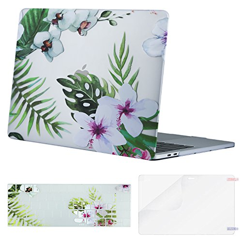MOSISO Notebookhülle Kunststoff Muster Hard Case und Tastatur Cover & Displayschutzfolie kompatibel MacBook Pro 33 cm Palm Leaves with White Flowers