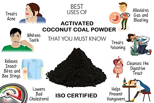 Activated Coconut Coal Powder - Food Grade (Buy 2 Get 2 Free) (Spl. for Face Pack and Body Detoxification, Teeth whitening, Alleviate Gas Bloating, , Treats Alcohol Poisoning & Helps Prevent Hangovers, Digestive Cleanse, Making Herbal Shampoo & Soap etc.)
