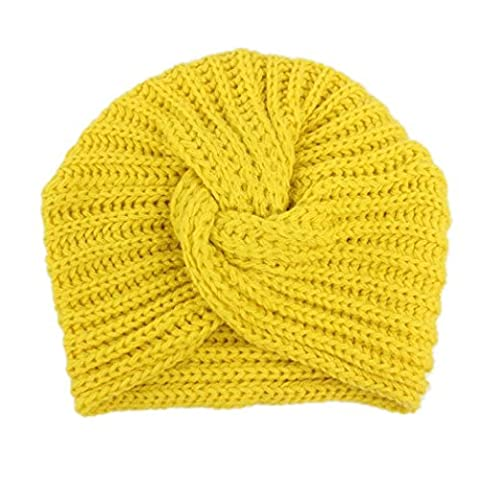 KanLin Baby Girls Knitting Hat Beanie Turban Head Wrap 3-8 years old (Yellow) (Old Man-kostüm Für Baby)