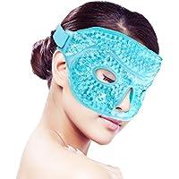 Cara Máscara de ojos de hielo para durmiendo, rejilla de gel fría/caliente Paquete,Terapia de frío y calor para el dolor facial,dormir,migraazóñas,dolores de cabeza,alivio del estrés[Azul]