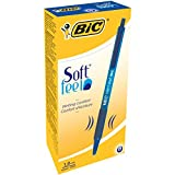 BIC Softfeel Stylos-Bille Rétractables Pointe Moyenne (1,0 mm) - Bleu, Boîte de 12