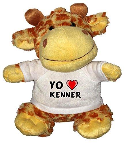 Jirafa de peluche (juguete) con Amo Kenner en la camiseta (nombre de pila/apellido/apodo)