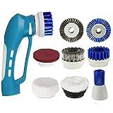 EVERTOP Brosse de Nettoyage électrique sans fil portable, Brosse rotative nettoyage kit avec 8 brosses de rechanges pour salle de bain, cuisine, vaisselle, fenêtre, chaussure,Bleu (FD-ESC-A)