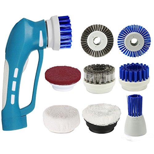 Handliche Reinigungsbürste EVERTOP Elektronik Reinigungsbürste IPX7 Wasserdicht vielfaltige Funktionen Haushalt Bürste mit 8 Borsten(A)