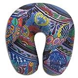 jinhua19 Cuscini Beautiful Bowl Colorful Pottery U Type Pillow Memory Foam Neck Pillow Relex Pollow Travel Pillow Relief Neck Pain