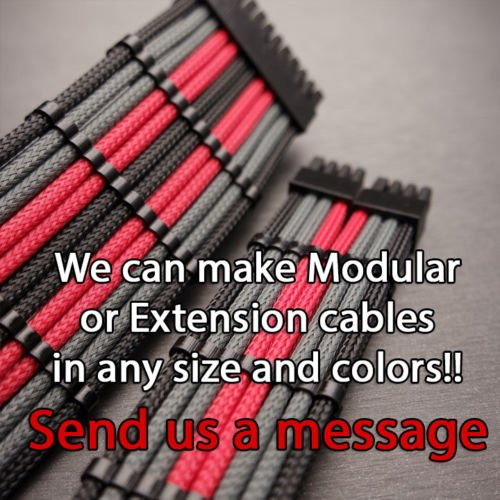 2 Cable Combs 4 Pin 30cm Black White CPU Motherboard Sleeved Extension Shakmods