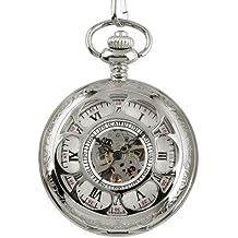 Antigua Caja Plata Hueca Cadena Reloj Bolsillo Esqueleto Mecánico Los Hombres Relojes