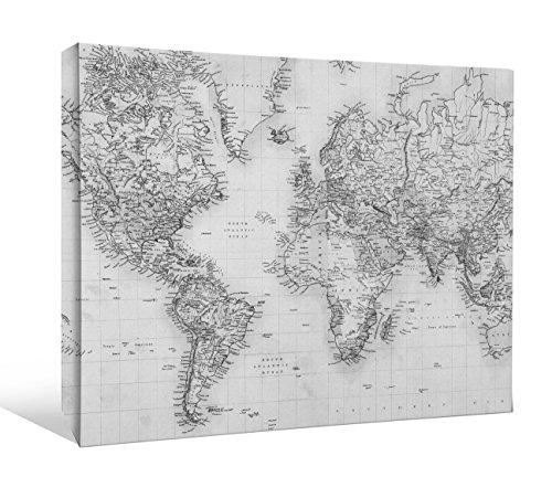 JP London bwcnv2258Monochrome 22585,1cm Dick Schwergewicht Schwarz & White Gallery Wrap Leinwand Art Wand Weltkarte Global Community Tapeten, 61x 45,7cm (Wallpaper Portfolio)