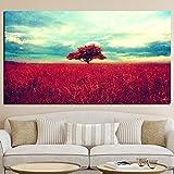 Numérique Impression Lone Rouge Arbre Paysage Peinture Sur Toile Moderne Pop Art...