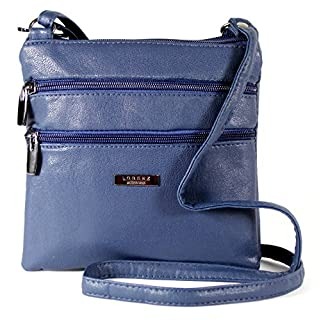 New Womans Leather Style Cross Across Body Shoulder Messenger Bag Zipped (Navy)