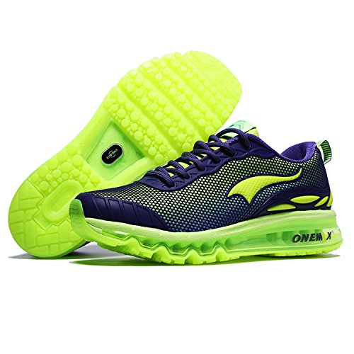 OneMix Herren Sneaker Low-Tops Mesh Laufschuhe Mens Running Shoes Purple / Fluorescent green
