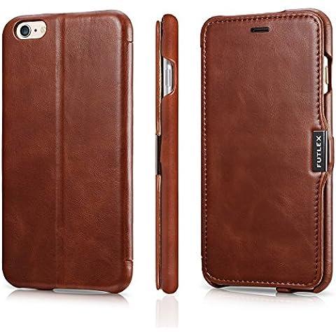 Funda tipo folio FUTLEX de piel auténtica estilo vintage para iPhone 6 Plus / 6S Plus - Marrón – Diseño único – Ultra fina - Corte y diseño precisos – Hecha a mano