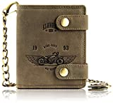 """Klondike 1896 genuine leather wallet with chain """"Tim"""", high-quality leather wallet, brown"""