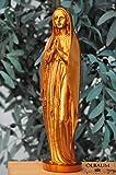 30 - 31 cm,BRONZE (glanzlackiert), Betende MADONNA, Heilige Maria ohne Kind, mit Kordeln und Rosenkranz, Marienfigur barfuß als Symbol von Unschuld und unbefleckter Empfängnis - alle ÖLBAUM HEILIGEN- und Krippenfiguren zeichnen sich durch extrem sauber gearbeitete und präzise Gesichtszüge der Figuren aus, coloriertes Holzfiguren- bzw. Echtholzimitat, sehr schlanke Form, standfeste Gottesmutter