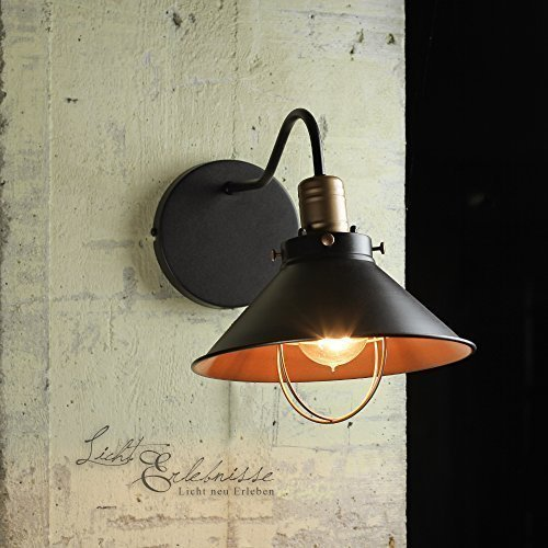 Vintage Lampada parete in nero / rame E27 Montatura 230 Volt Lampada da parete retrò Loft Edison