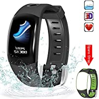Evershop Fitness Tracker with HD Color Screen for Swimming, Waterproof Fitness Tracker Watch, Activity Tracker with Heart Rate Monitor,Calorie Counter Sleep Monitor for Women Men Kids