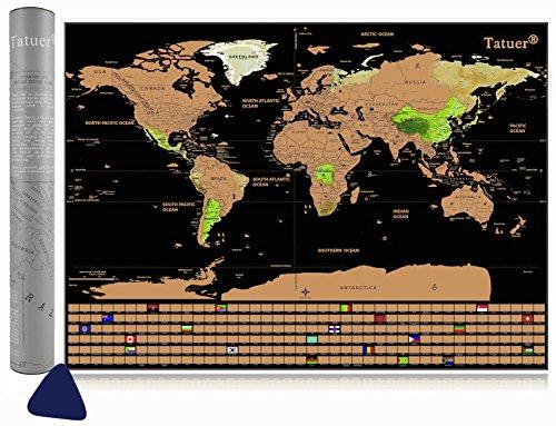 Tatuer Weltkarte zum Rubbeln, Design Leinwand Weltkarte Poster für Reise + Flaggen Edition Klein Weltkarten für Kinder Reisefreund um Reisen zu verfolgen (82,5*59,5 cm)