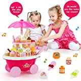 Ice Cream Candy Cart 39 PCS Pretend Play Food Dessert And Cash Trolley Set Toy With Music And Lighting Kids And Girls Toys