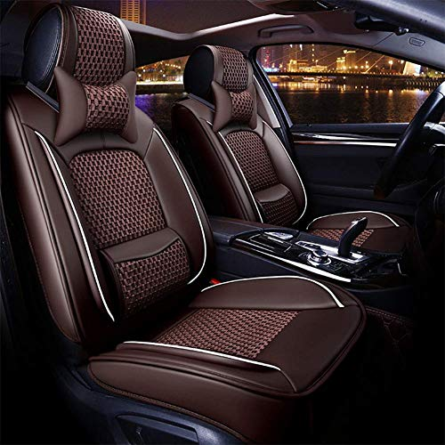 RUIX Universal Autositzbezüge 5 Sitze Auto umgeben Autositzschutz aus Seide mit festen Lendenkissen,Brown