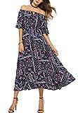 Ufatansy Damen Sommerkleider Spitze Lange Ärmel Schulterfreies Kleid Strandkleid Maxikleid Boho Kleid (6, XXL)