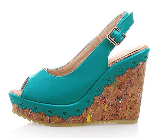 YE Damen Peep Toe High Heels Plateau Wedges Keilabsatz Slingback Leder Pumps Sommer Sandalen Schuhe Blau