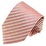 Lorenzo Cana - Designer Krawatte aus 100% Seide Streifen gestreift Creme Beige Rose - 84538