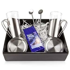 Geschenk Set Winter-Früchtetee mit je 2 Teegläsern, Untersetzern und Löffeln, 1er Pack (1 x 50 g)