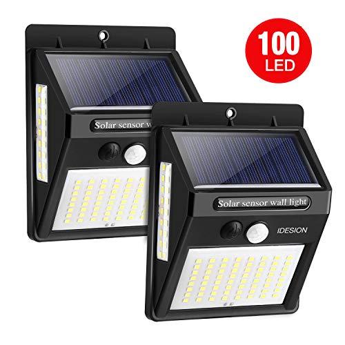 IDESION Solarleuchte für Außen,[ 2 Stück] 100 LED Solarlampe mit Bewegungsmelder [2200 mAh], Superhelle Solarlicht, 270°Solar Beleuchtung, IP65 Wasserdichte 3 Modi Wandleuchte für Garten.