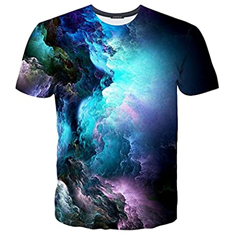 EOWJEED Unisex Kreatives Casual 3D Muster Gedruckt Kurzarm T-Shirts Top Tees - L