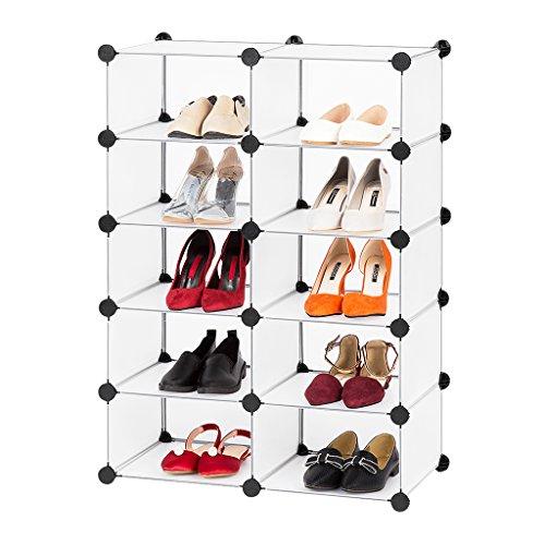 LANGRIA Garderobenschrank 10 Kubus Weiß Schuhregal Kunststoff Regalsystem Schuhschrank 65x32x93cm [Zurück zur Schule]
