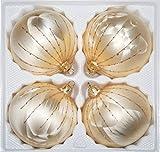 4 TLG. Glas-Weihnachtskugeln Set 10cm Ø in Ice Champagner Gold Regen- Christbaumkugeln - Weihnachtsschmuck-Christbaumschmuck 10cm Durchmesser