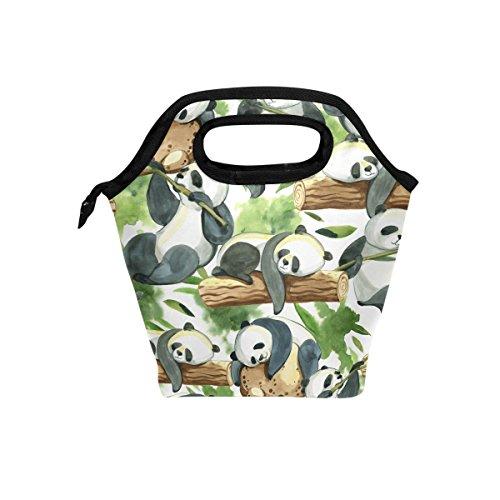hunihuni Panda Bambus Isolierte Thermo Lunch Kühltasche Tote Bento Box Handtasche Lunchbox mit Reißverschluss für Schule Büro Picknick