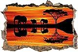 Pixxprint 3D_WD_2670_62x42 Elefanten in Afrikanischer Wüste Bei Sonnenuntergang Wanddurchbruch 3D Wandtattoo, Vinyl, Bunt, 62 x 42 x 0,02 cm