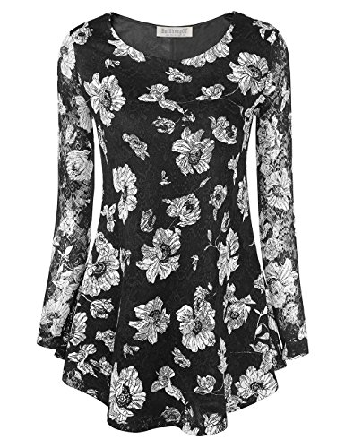 BaiShengGT Women's O Neck Sheer Long Sleeve A line Floral Lace Tunic Top Blouse