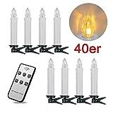 SPEED 40er Kabellos LED Weihnachtskerzen Lichterkette Kerzen Christbaumschmuck Weihnachtsbaumbeleuchtung Warmweiß