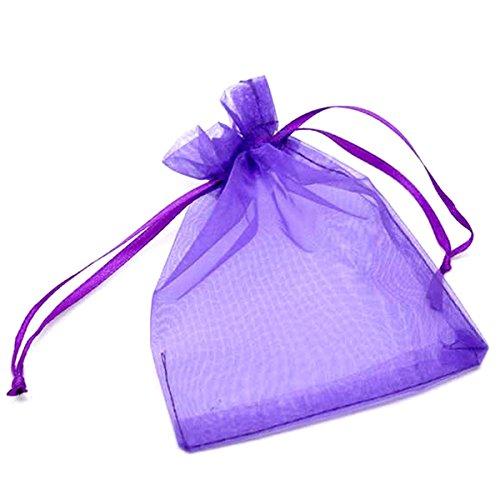 HooAMI 100 pcs Sachets Pochettes Violet En Organza Organisateur de Cadeau Bonbons Bijoux Pour Mariage Anniversaire Soirée Fête 9x12cm
