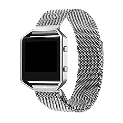 For Fitbit Blaze Strap, Wearlizer Milanese Loop Watch Band Replacement Stainless Steel Bracelet Strap for Fitbit Blaze - Silver Small ( Straps Only, No Frame )