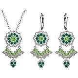 Lucia Costin Silver, Light Green, Dark Green Crystal Jewelry Set