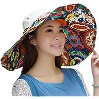 Flyfish Sun Hat, Flower Bridmed Sun Hat Sombreros de Verano para Mujer Protección UV (A)