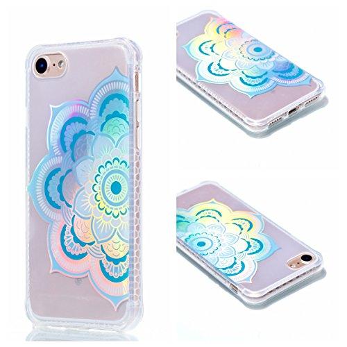 Ooboom® iPhone 8/iPhone 7 Hülle TPU Silikon Handy Tasche Prämie Luxus Case Cover Bumper Ultra Dünn für iPhone 8/iPhone 7 - Blumen Blume Blau
