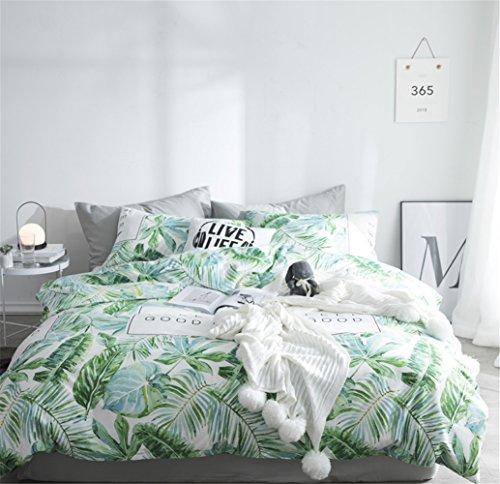 Bettwäsche Bettlaken Bettbezug Bettdecke Set 4 Stücke 100% Reinem Baumwollgewebe Zeitgenössische Blatt Mikrofaser Hypoallergen, Voller Königin Bett Größe,C,Full (Weiß Königin Bett Blatt)
